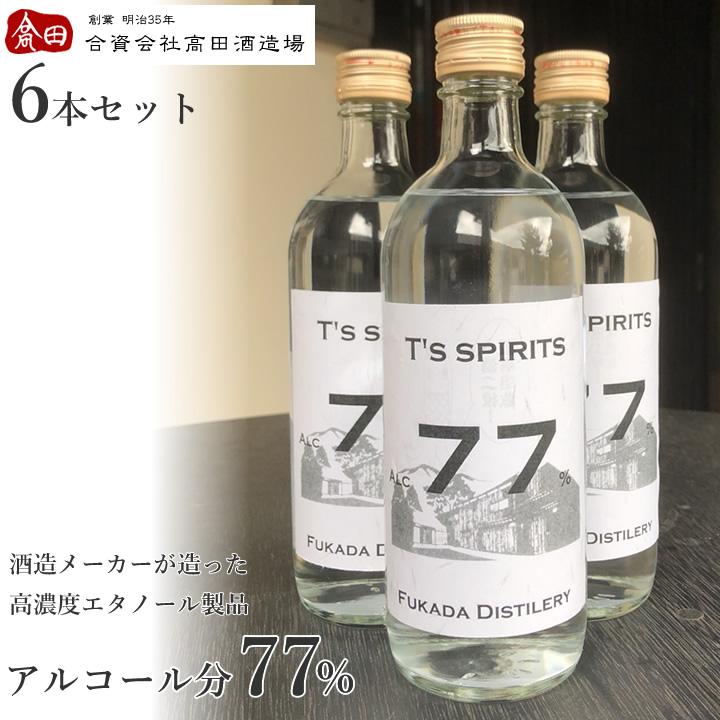 a01 T's spirits77 繧「繝ォ繧ウ繝シ繝ォ蠎ヲ謨ー77% 豸域ッ堤畑繧「繝ォ繧ウ繝シ繝ォ 500ml 6譛ャ繧サ繝�繝�