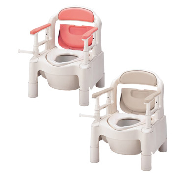 870-003(ピンク) 870-004(ベージュ) ポータブルトイレ・FX-CP・キャスター付き