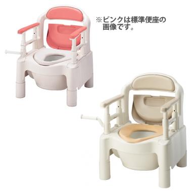 870-033(ピンク) 870-034(ベージュ) ポータブルトイレ・FX-CP<快適脱臭>・キャスター付き